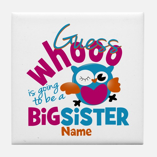 Personalized Big Sister - Owl Tile Coaster