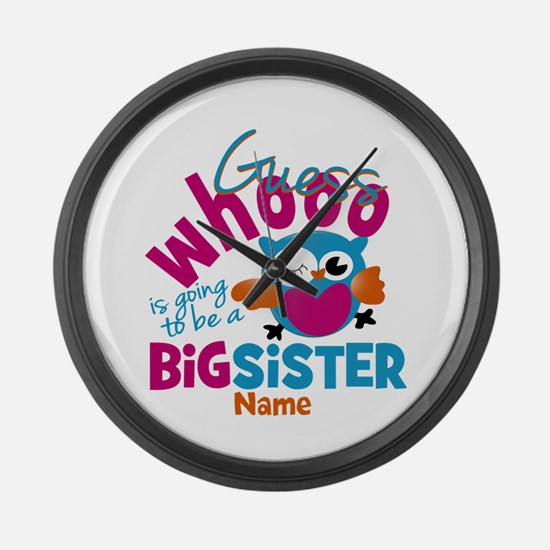 Personalized Big Sister - Owl Large Wall Clock