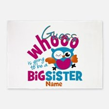 Personalized Big Sister - Owl 5'x7'Area Rug