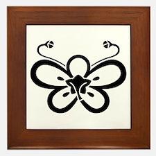 Backside-view butterfly-shaped ume Framed Tile