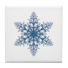 Blue Snowflake Tile Coaster