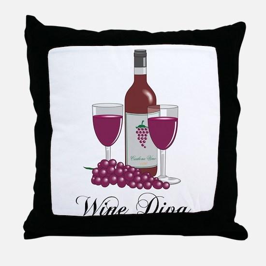 Wine Diva Throw Pillow