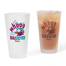 Personalized Big Sister - Owl Drinking Glass