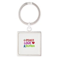 Peace Love Rumba Square Keychain