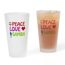 Peace Love Samba Drinking Glass