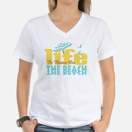 Life's Better Beach Women's V-Neck T-Shirt