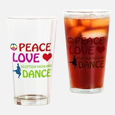 Peace Love Scottish Highland Drinking Glass