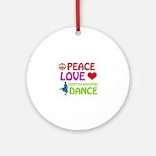 Peace Love Scottish Highland Ornament (Round)