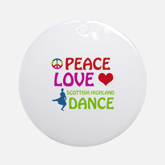 Peace Love Scottish Highland Ornament (Round)