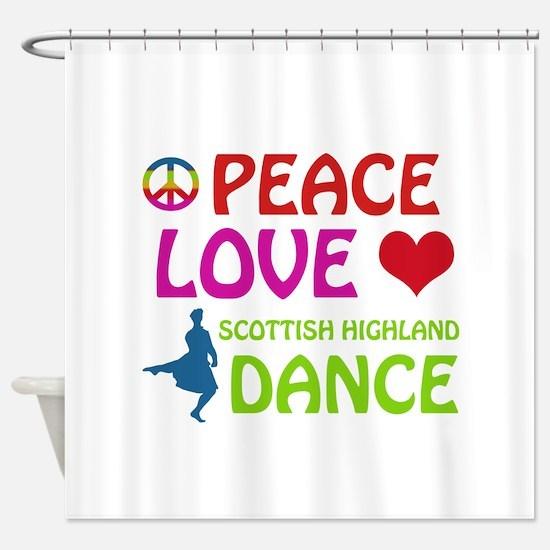 Peace Love Scottish Highland Shower Curtain