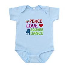 Peace Love Square dance Infant Bodysuit