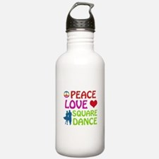 Peace Love Square dance Water Bottle