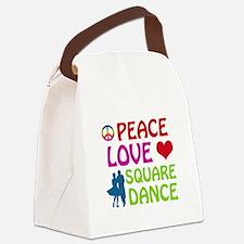 Peace Love Square dance Canvas Lunch Bag