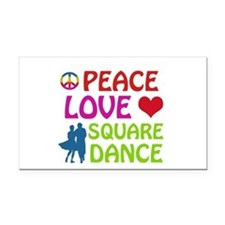 Peace Love Square dance Rectangle Car Magnet