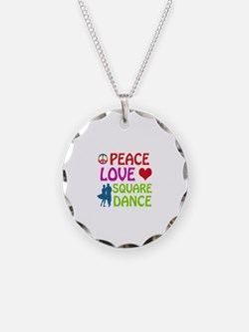 Peace Love Square dance Necklace