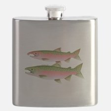 Pacific Coho Salmon fish couple Flask