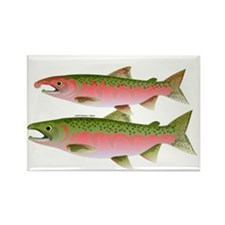 Pacific Coho Salmon fish couple Rectangle Magnet (