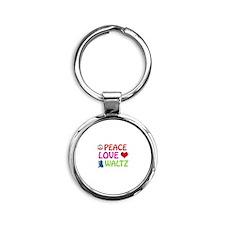 Peace Love Waltz Round Keychain