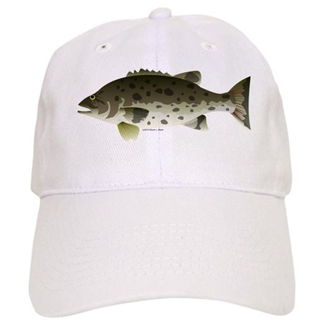 Giant black sea bass fish baseball hat by for White cap fish