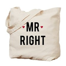 Mr. right text design with red hearts Tote Bag