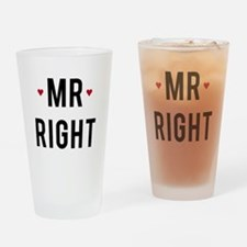 Mr. right text design with red hearts Drinking Gla