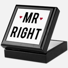 Mr. right text design with red hearts Keepsake Box