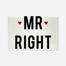 Mr. right text design with red hearts Rectangle Ma