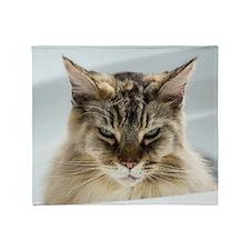 Maine Coon Cat Looking Grumpy Throw Blanket