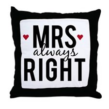 Mrs. always right text design with red hearts Thro