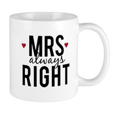 Mrs. always right text design with red hearts Mug