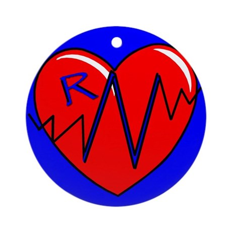 RN EKG Heart Ornament (Round)