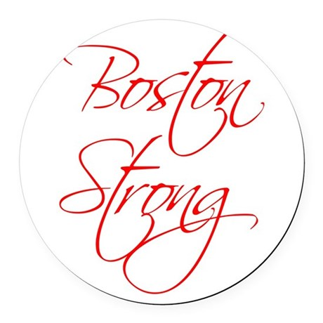 boston-strong-scr-red Round Car Magnet