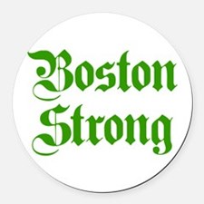 boston-strong-pl-ger-green Round Car Magnet