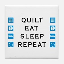 Quilt, Eat, Sleep, Repeat Tile Coaster