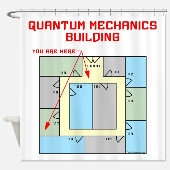 Quantum Mechanics Building Shower Curtain