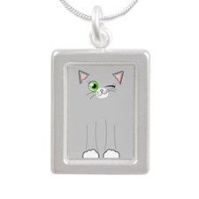 Cute Winking Cat Grey and White Silver Portrait Ne