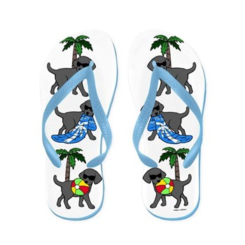 Go To Beach Black Labs Flip Flops