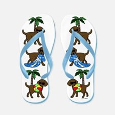 Go To Beach Chocolate Labs Flip Flops