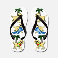 Go To Beach Yellow Labs Flip Flops