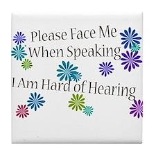 Hard of Hearing Flowers Tile Coaster