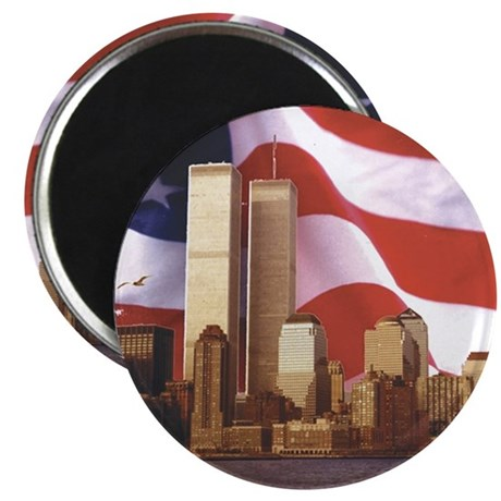 Trade Center and Flag Magnet