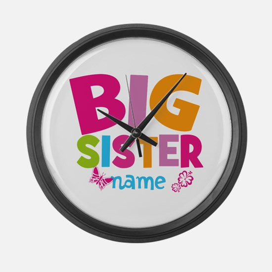 Personalized Name - Big Sister Large Wall Clock