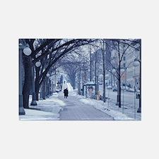 Snowy City Street Rectangle Magnet