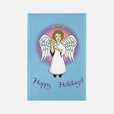 Happy Holidays ILY Angel Rectangle Magnet