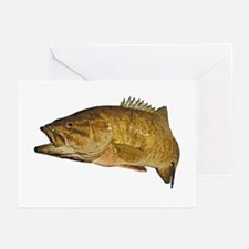 Smallmouth Bass Art Affect Greeting Cards (Pk of 1