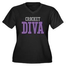 Crochet DIVA Women's Plus Size V-Neck Dark T-Shirt