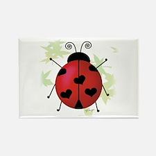 Heart Ladybug Rectangle Magnet