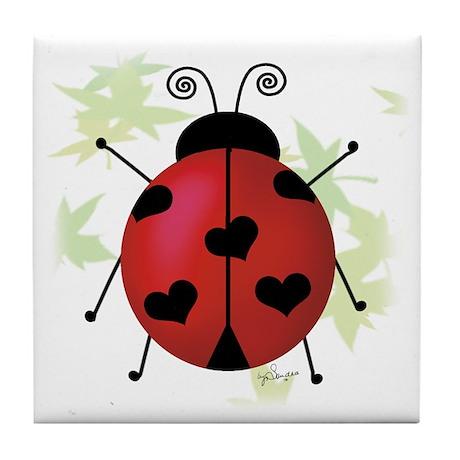 Heart Ladybug Tile Coaster
