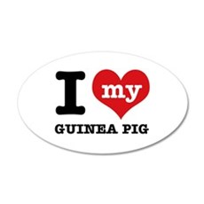 I heart Guinea Pig designs 35x21 Oval Wall Decal
