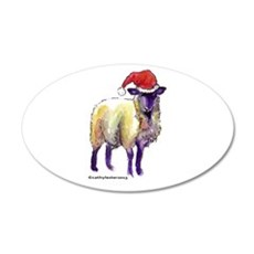 Sheep Holiday 35x21 Oval Wall Decal